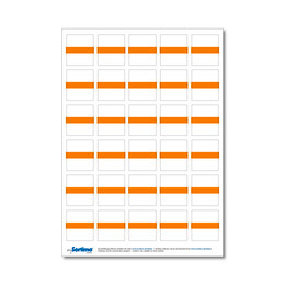 Adhesive labels for inset box 30 in number, orange (1 sheet)