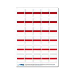 Adhesive labels for inset box 30 in number, red (1 sheet)