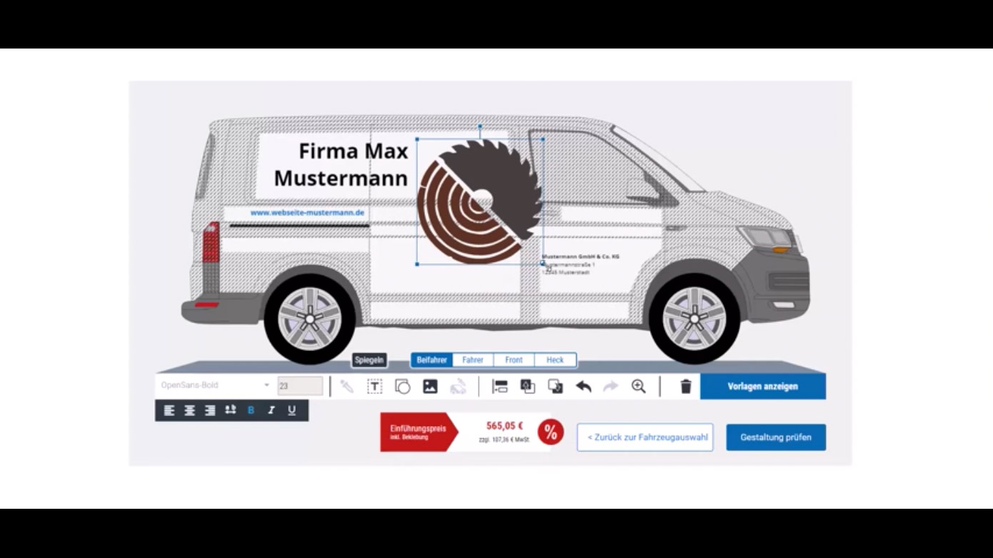 Design your vehicle decals yourself quickly and simply mysortimo